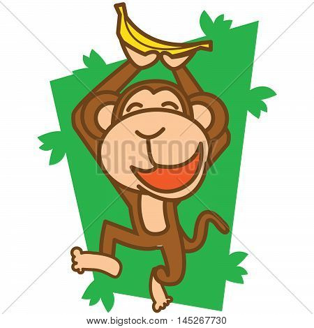 monkey happy with banana vector art illustration