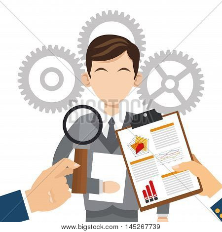 human resources document lupe man avatar gears search employee business icon. Colorful design blue background. Vector illustration