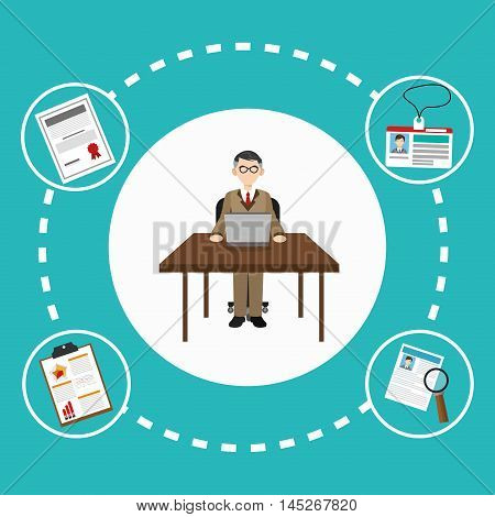 human resources man table laptop document lupe search employee business icon. Colorful design blue background. Vector illustration