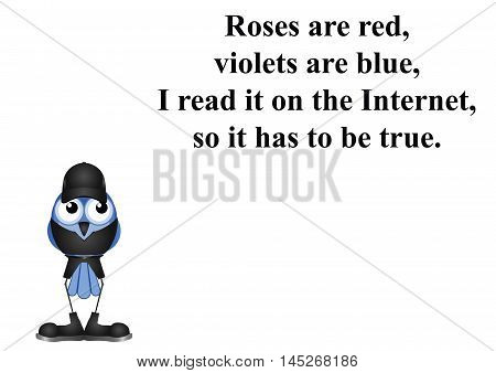 Comical internet poem on white background with copy space for own text