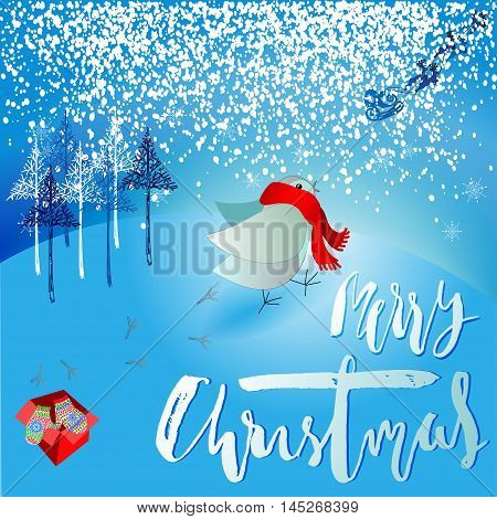 Santa Claus brought a bad gift. Angry bird dissatisfied Christmas gift. A pair of mittens. Christmas lettering. Vector illustration. EPS10