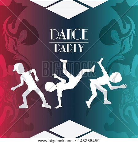 boys cartoons avatar dancer dance studio academy advertising icon. Silhouette design. Splash background. Vector illustration
