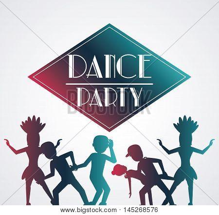 girls boys cartoons avatar dancer dance studio academy advertising icon. Silhouette design. Vector illustration