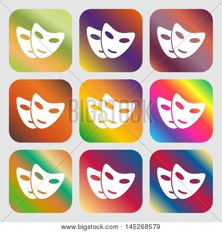 Mask Icon . Nine Buttons With Bright Gradients For Beautiful Design. Vector