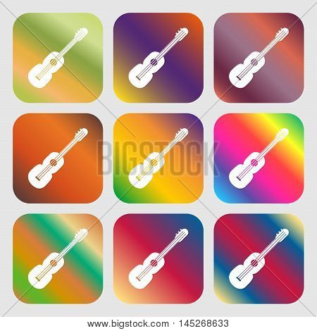 Acoustic Guitar Icon . Nine Buttons With Bright Gradients For Beautiful Design. Vector
