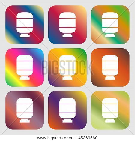 Medication Icon . Nine Buttons With Bright Gradients For Beautiful Design. Vector