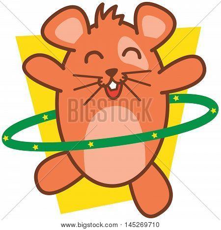 Hamster Playing Hula Hoops vector art illustration