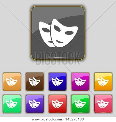 Mask Icon Sign. Set With Eleven Colored Buttons For Your Site. Vector