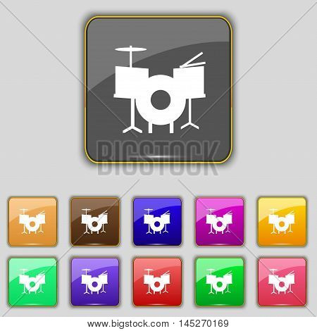 Drum Icon Sign. Set With Eleven Colored Buttons For Your Site. Vector