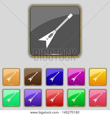 Guitar Icon Sign. Set With Eleven Colored Buttons For Your Site. Vector