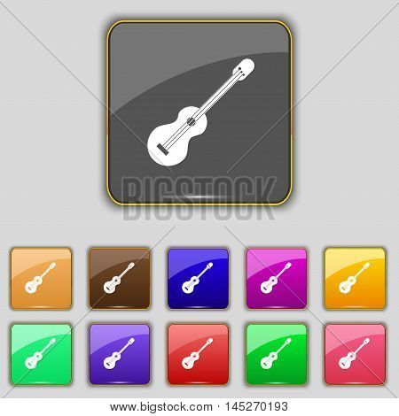 Acoustic Guitar Icon Sign. Set With Eleven Colored Buttons For Your Site. Vector