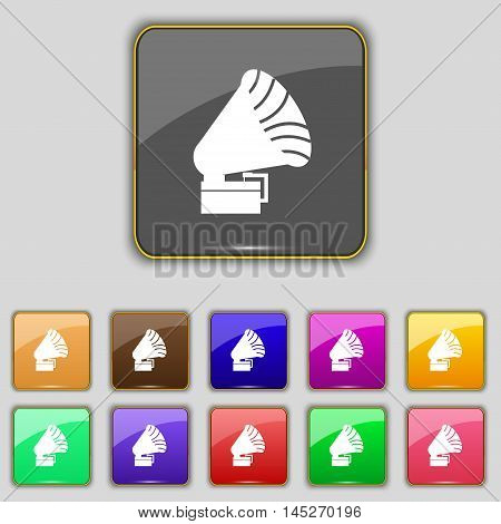 Gramophone Icon. Sign. Set With Eleven Colored Buttons For Your Site. Vector