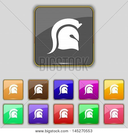 Spartan Helmet Icon Sign. Set With Eleven Colored Buttons For Your Site. Vector