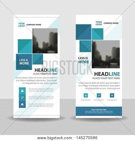 Blue square roll up business brochure flyer banner design cover presentation abstract geometric background modern publication x-banner and flag-banner layout in rectangle size.