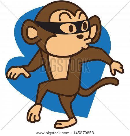 cartoon thief monkey vector art illustration for kids