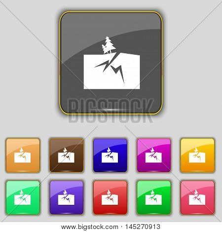 Property Insurance Icon Sign. Set With Eleven Colored Buttons For Your Site. Vector