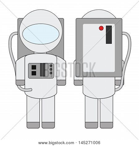 Simple cartoon astronaut in a spacesuit costume