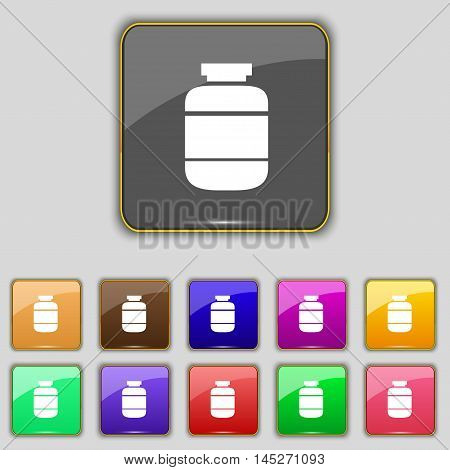 Medication Icon Sign. Set With Eleven Colored Buttons For Your Site. Vector