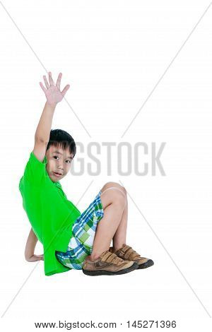 Full Body Of Asian Child Smiling And Raising His Hands Up, Isolated On White Background.