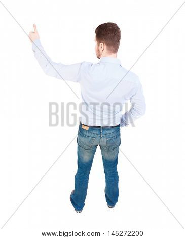 Back view of business man shows thumbs up. businessman in white shirt showing thumbs up. view from above.