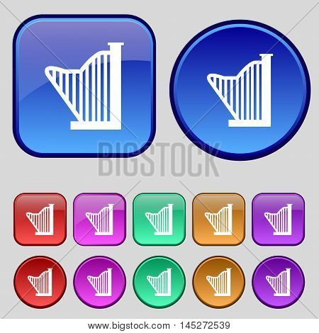 Harp Icon Sign. A Set Of Twelve Vintage Buttons For Your Design. Vector