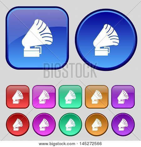 Gramophone Icon. Sign. A Set Of Twelve Vintage Buttons For Your Design. Vector