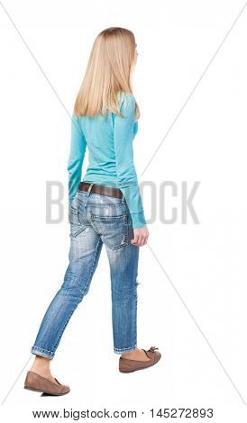 side view of walking  woman in jeans. beautiful girl in motion.  backside view of person.  Rear view people collection. Isolated over white background.