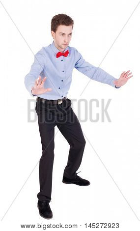 Referee suit and tie butterfly separates boxers. Isolated over white background.