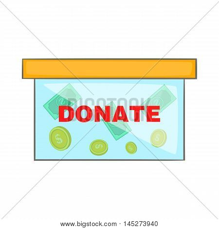 Coins in donate box icon in cartoon style isolated on white background