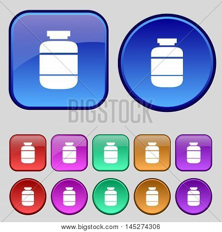 Medication Icon Sign. A Set Of Twelve Vintage Buttons For Your Design. Vector