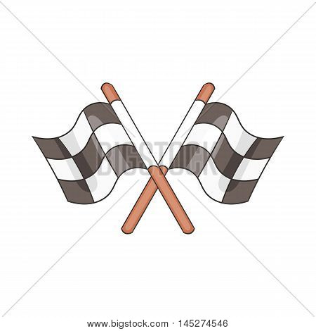 Racing flags icon in cartoon style isolated on white background. Start race symbol