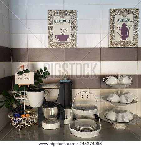 Time to have a Breakfast breakfast corner in the kitchenette with include coffee machine and tea set with lighting