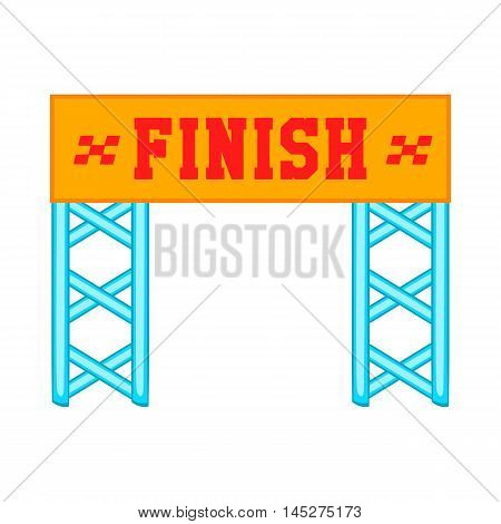 Finish race gate icon in cartoon style isolated on white background. Sport symbol