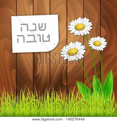 Rosh Hashanah Jewish New Year greeting card with white flowers. Hebrew text Happy New Year Shana Tova . Vector background