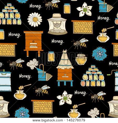 Vector seamless pattern with hand drawn colored symbols of beekeeping on black color. Pattern on the theme of honey and bees. Background for use in design, packing, web site, fabric