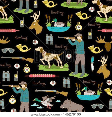 Vector seamless pattern with hand drawn colored symbols of hunting on black color. Pattern on the theme of hobbies for men. Background for use in design, packing, web site, fabric