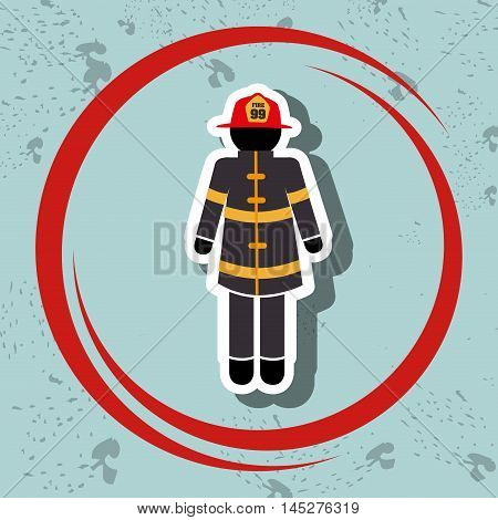 firefighter uniform protection icon vector illustration graphic