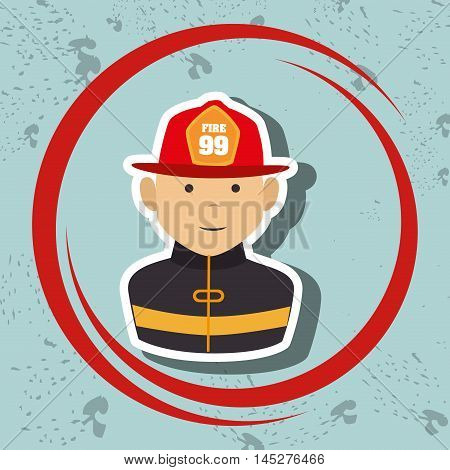 firefighter uniform protection rescue vector illustration graphic