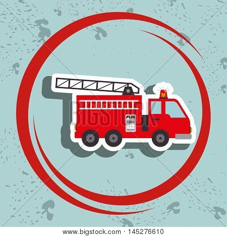 truck fireman rescue fire vector illustration graphic