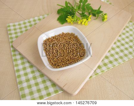 Mustard herbs with flowers and mustard seeds