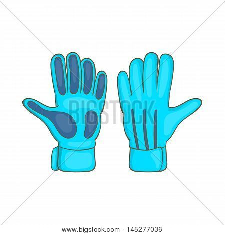 Football goalkeeper gloves icon in cartoon style isolated on white background. Sport symbol