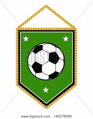 Green soccer pennant isolated on white background. Football banner vector illustration