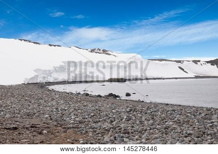 Iceberg and coastal seaescape in the summer season at Antarctica