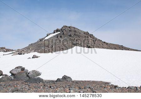 Snow mountain and blue sky at Antarctica