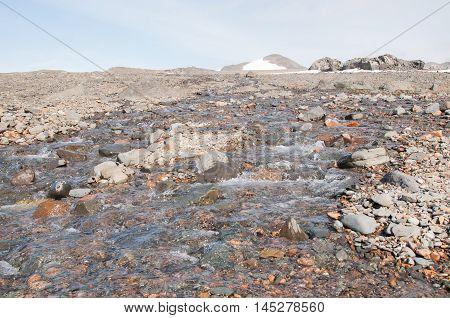 landscape of snow melting in the summer season at Antarctica
