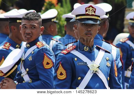 Jakarta, Indonesia - August 17, 2016: Indonesian military army cadets in preparations for the independence day flag ceremonial at Indonesian Presidential Palace.