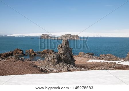 Rock mountain and sea ice background at Antarctica