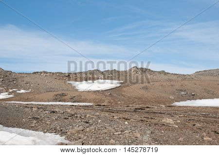 Landscape of snow and mountain background at Antarctica