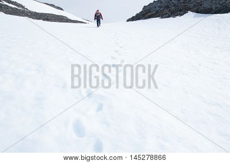 The footprint on the snow background at Antarctica