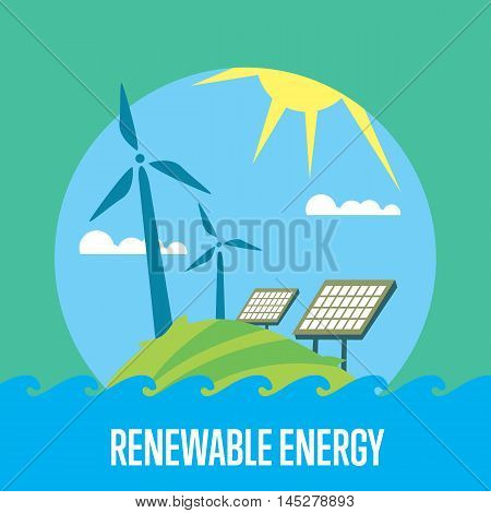 Renewable energy vector illustration. Wind turbines and solar panels in green field under the sun and blue sky. Modern alternative energy generation. Ecological types of electricity. Eco power